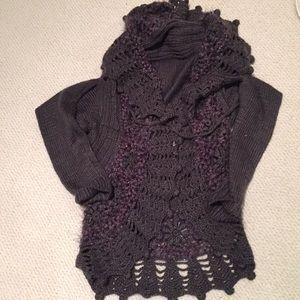 Lurex metallic S shawl collar sweater grey